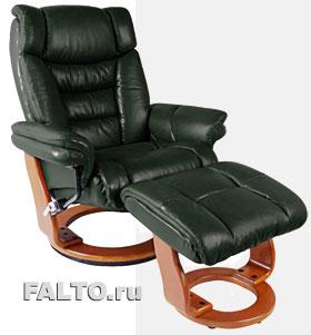 Зеленое кожаное кресло Relax Зуэль