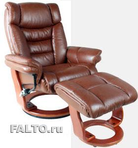 Коричневое кожаное кресло Relax Зуэль