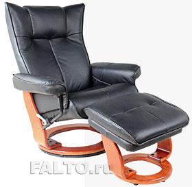 Кожаное кресло-реклайнер Relax Mauris черное