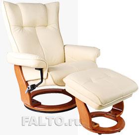 Кожаное кресло-реклайнер Relax Mauris светлое