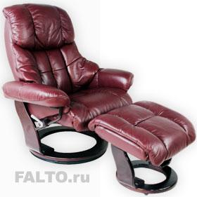 Кожаное кресло-реклайнер с пуфом для ног Relax Lux